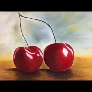 "Original Painting Cherries still life 24""x18"""